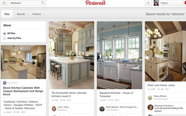 Home and Design Pinterest page sample