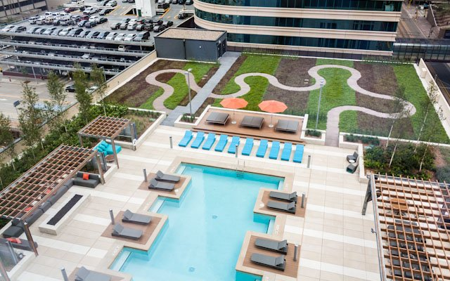 Overhead shot of pool area at The Nic on Fifth