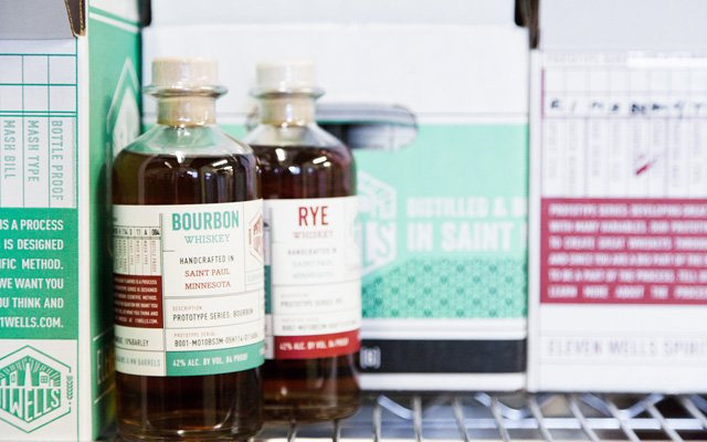 Bottles of Wells Bourbon and Rye Whiskey
