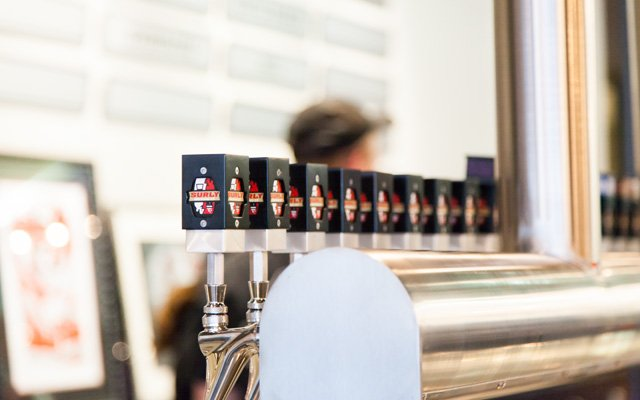 Beer taps at Surly Brewing