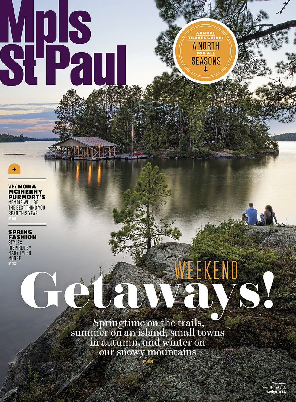 Minneapolis St. Paul Magazine cover image, cabin on lake at sunset