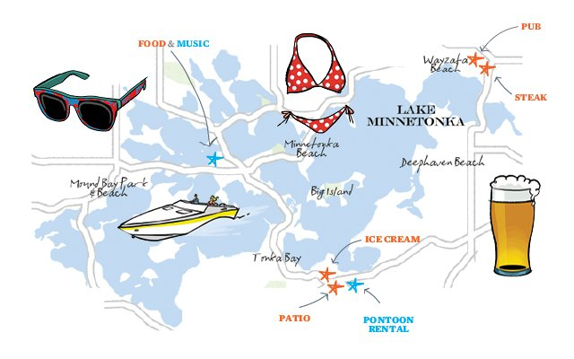 Illustrated map of Lake Minnetonka