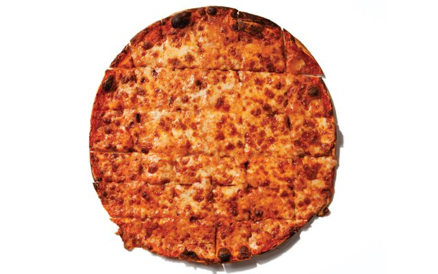 Classically square-cut pizza from Broadway Pizza
