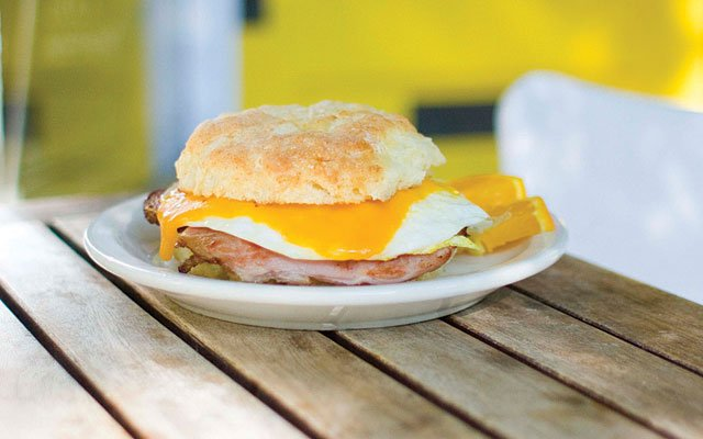 Biscuit with fried egg and ham at Butter Bakery Café
